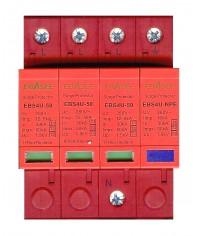 EBASEE EBS4U-50 Zvodič bleskových prúdov a prepätia T1+T2+T3 (B+C+D) 30-50kA TNS 3P+NPE
