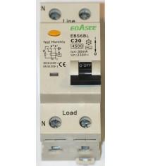 Prúdový chránič 2Pólový Ebasee C20A 30mA 1P+N