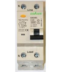 Prúdový chránič 2Pólový Ebasee C10A 30mA 1P+N